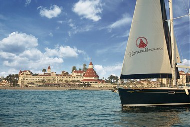Sailing views of Hotel del Coronado