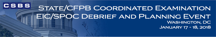 State/CFPB Coordinated Examination EIC/SPOC Debrief and Planning Event