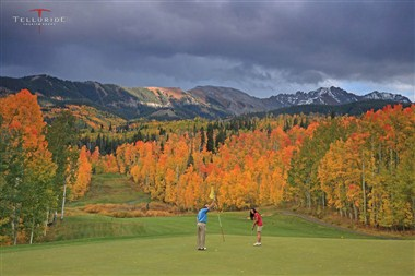 Golf among fall colors.