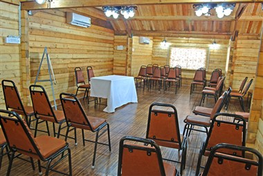 wooden conference hall