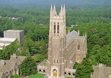 View of the iconic Duke Chapel on West Campus