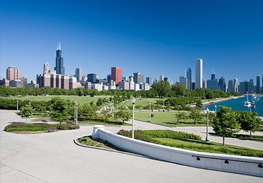 Chicago Skyline from the Field Museum campus