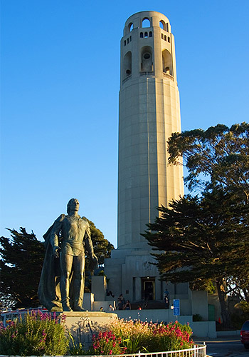 Statue of Christopher Columbus and Coit Tower