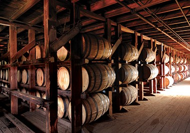 Barrels in rickhouse