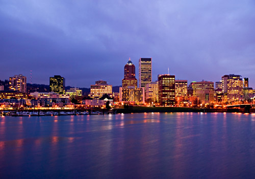 Downtown Portland Skyline at Night