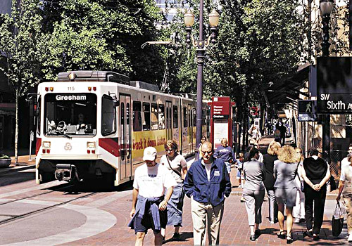 Max Light Rail in Downtown Portland