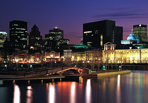 Montreal Skyline Night Old Port