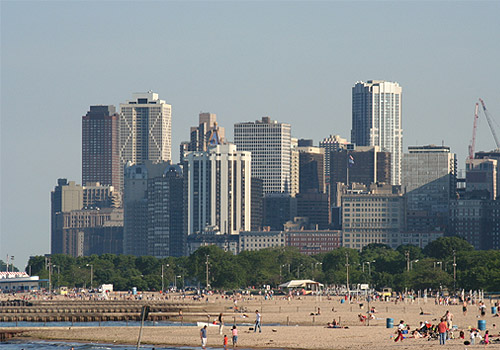 Chicago Skyline and North Avenue Beach