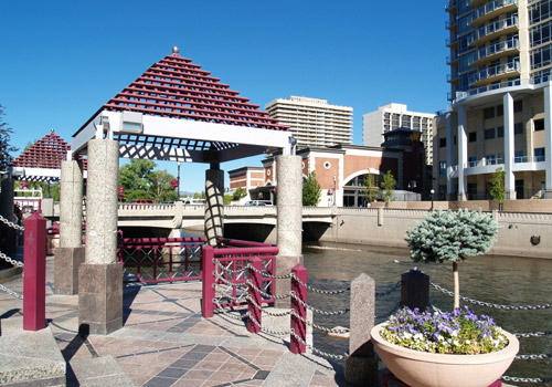 Reno Downtown Along Riverwalk