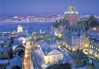 Old Quebec at Night in Winter