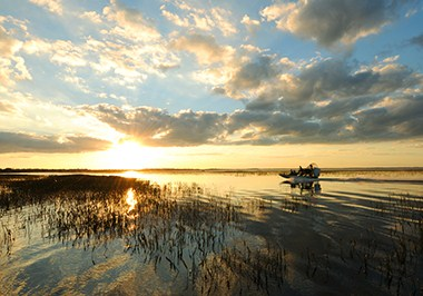 Airboat on lake