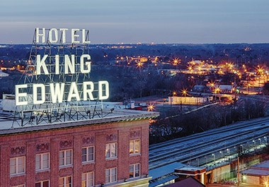 Iconic Hotel King Edward Sign in Downtown
