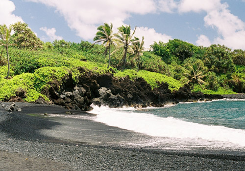 A Black Sand Beach on Maui