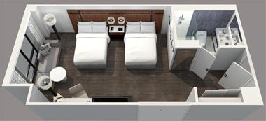 Deluxe Double/Double Guest Room Floor Plan