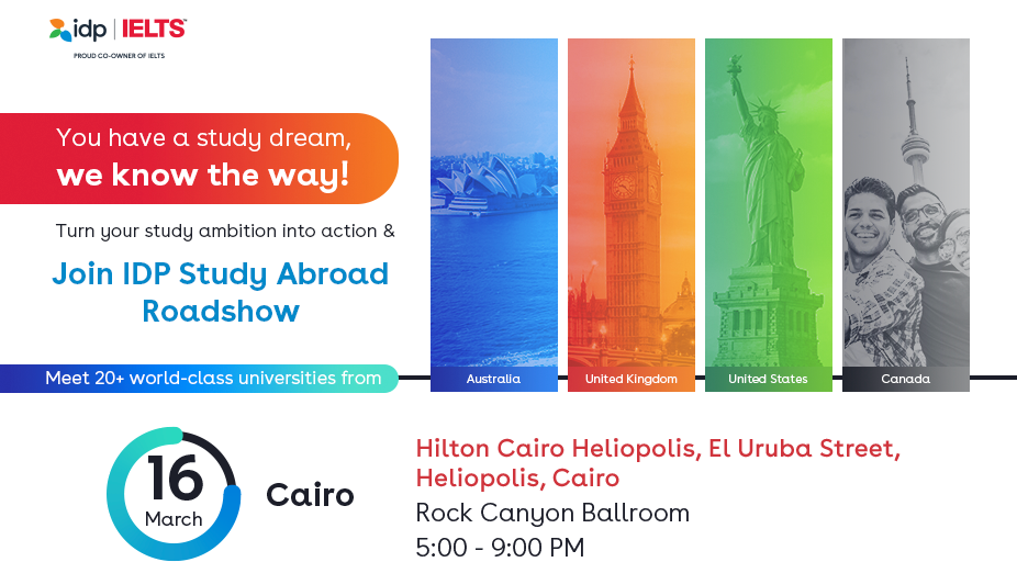 Join IDP Study Abroad Roadshow in Cairo