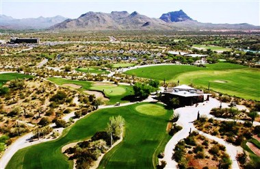 Golf Course and Mountains Aerial View