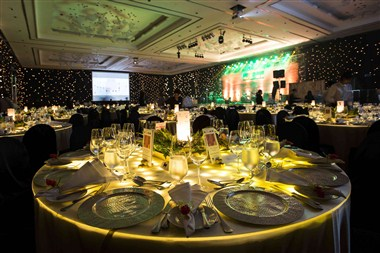 Ballroom set for Gala Dinner