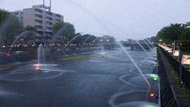 Clear stream Chitose River fountain