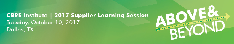 CBRE Institute | 2017 Supplier Learning Session
