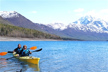 Kayaking at Eklutna Lake