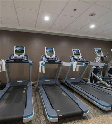 Workout room treadmills