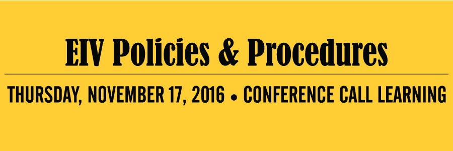 EIV Policies & Procedures Conference Call