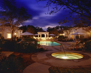 Casita Village Courtyard at Night