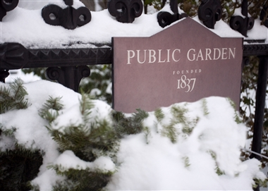 Public Garden Sign in Winter