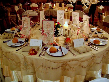 Banquet Dinner Table set up