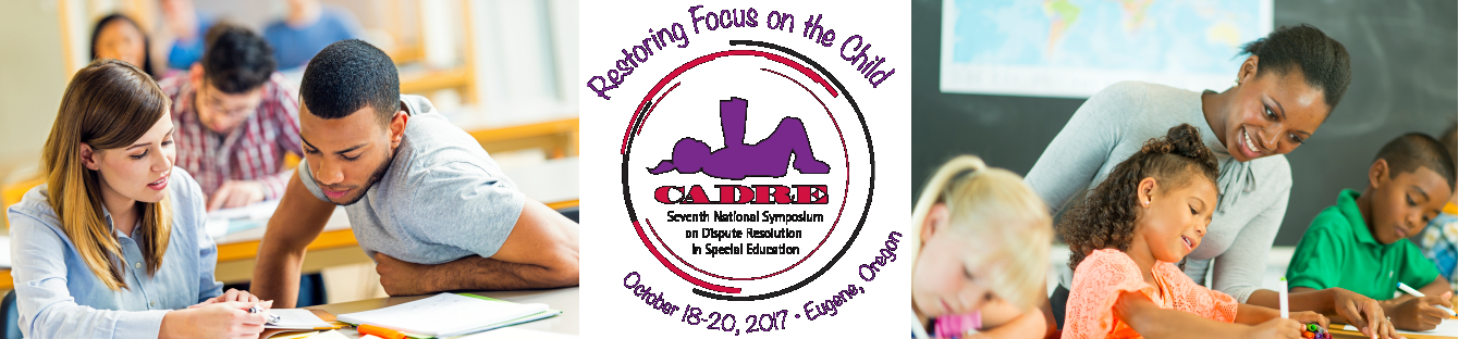 Symposium Logo with photos of students on either side