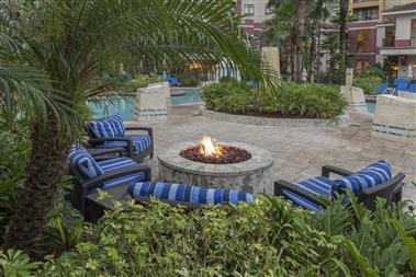 Fire pit, zero entry themed pool and cabanas