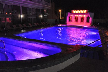 Rainbow Falls Pool by night