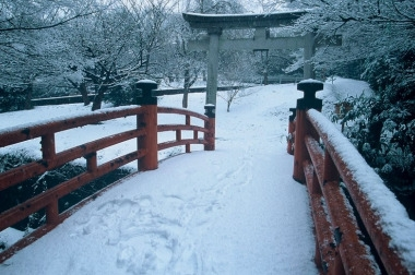 Snow at Utatsuyama shrine