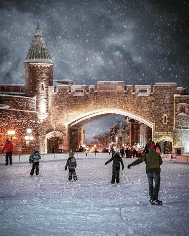 Ice skating at Place D'Youville