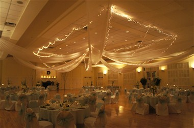 Draped/Lighted Ballroom Ceiling