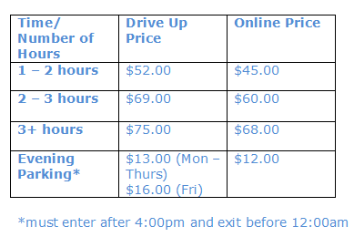 Car Park Pricing Table NEW