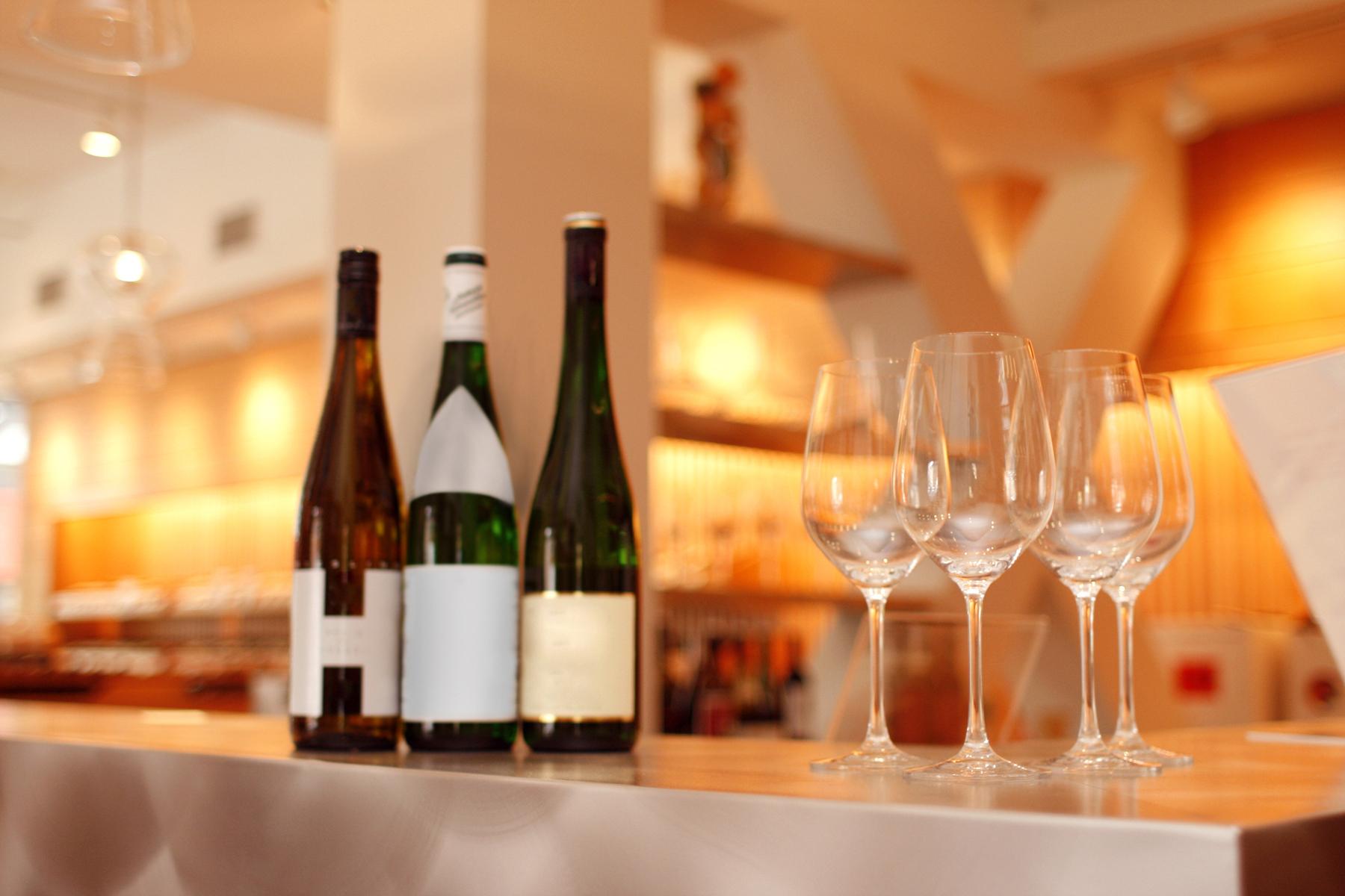 wine glasses bottles