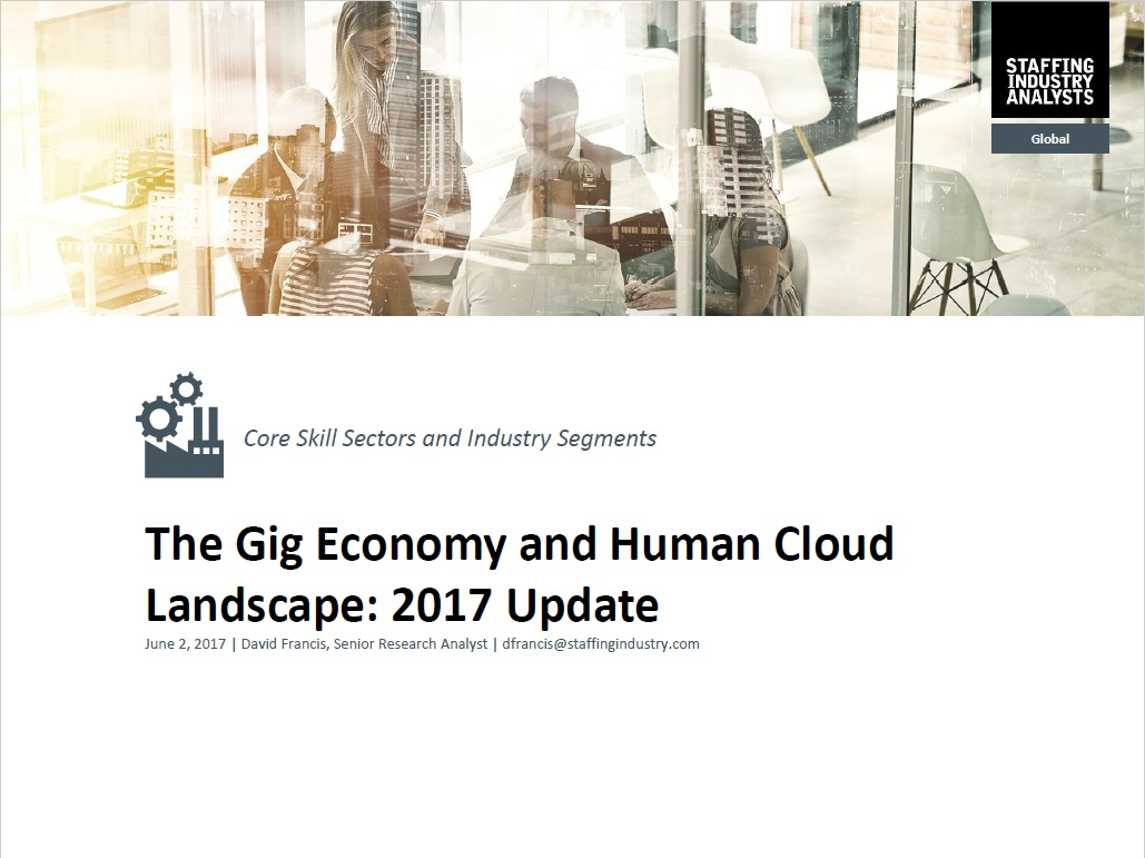 The Gig Economy and Human Cloud Landscape: 2017 Update