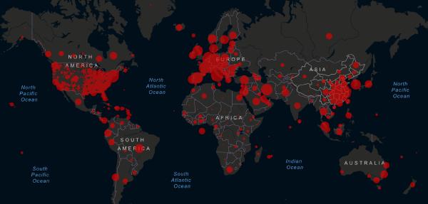 March 25, 2020 Live coronavirus map