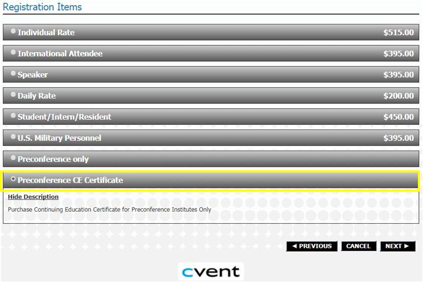 Preconference CE Certificate