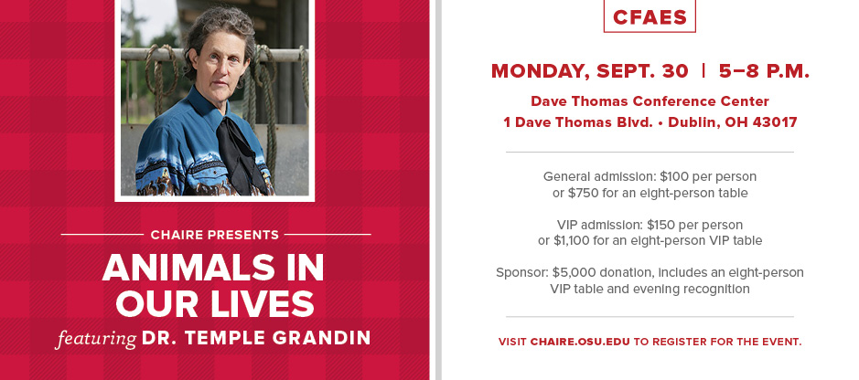 CHAIRE Presents Animals In Our Lives Featuring Dr. Temple Grandin