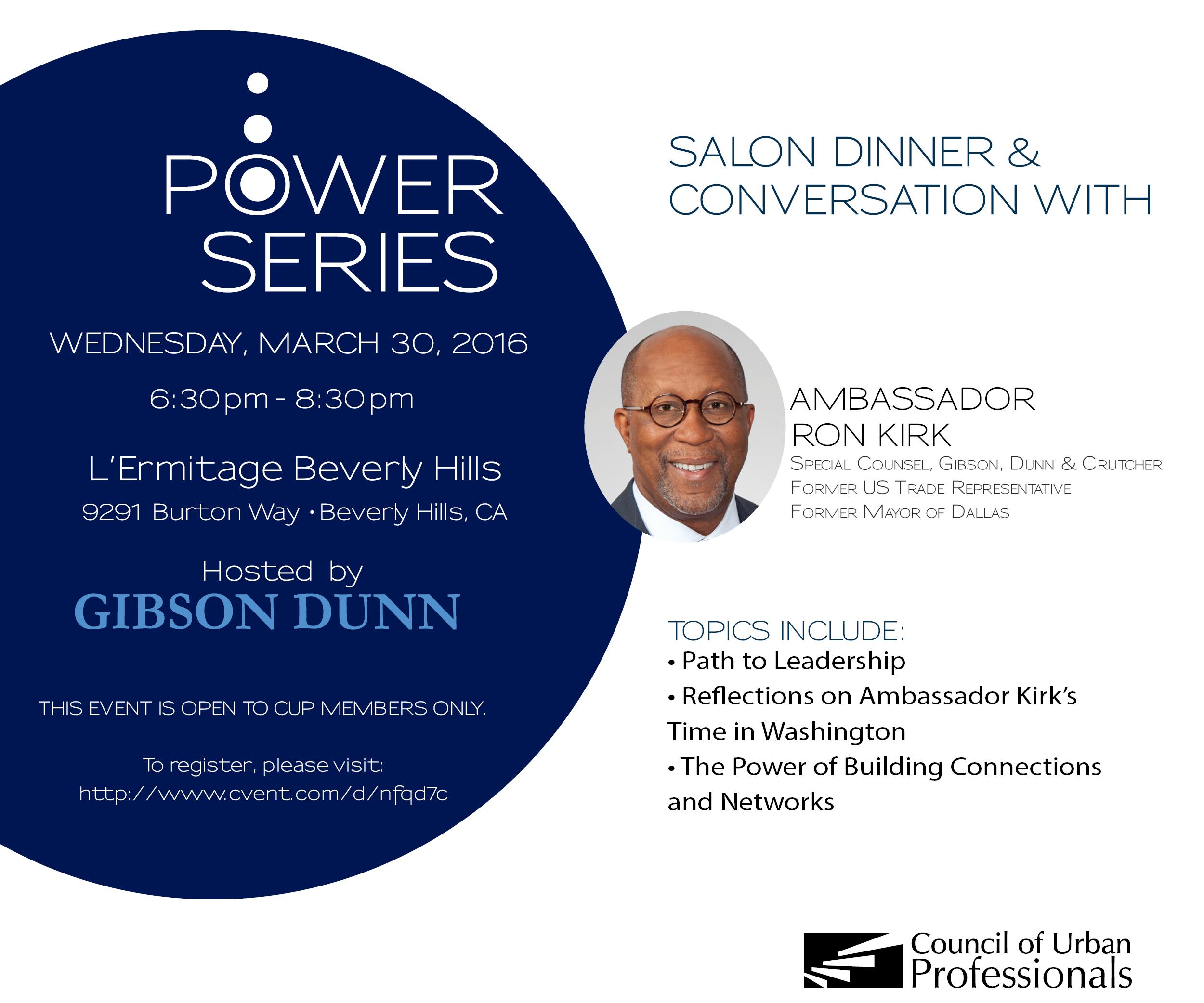 Salon Dinner & Conversation with Ambassador Ron Kirk