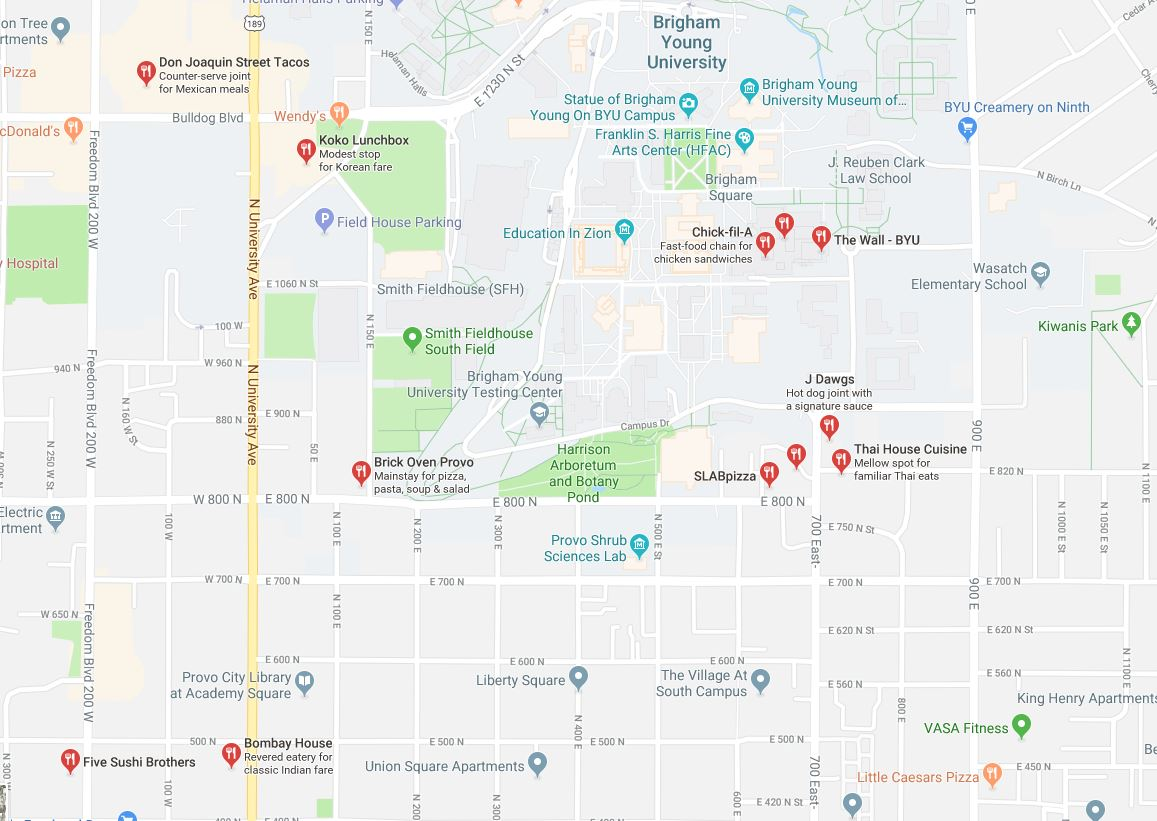 Walking distance map BYU