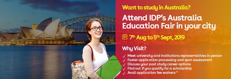 Attend Australia Education Fair 7th Aug to 5th Sep, 2019