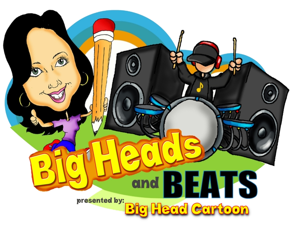 Big Heads & Beats by Big Head Cartoon Logo