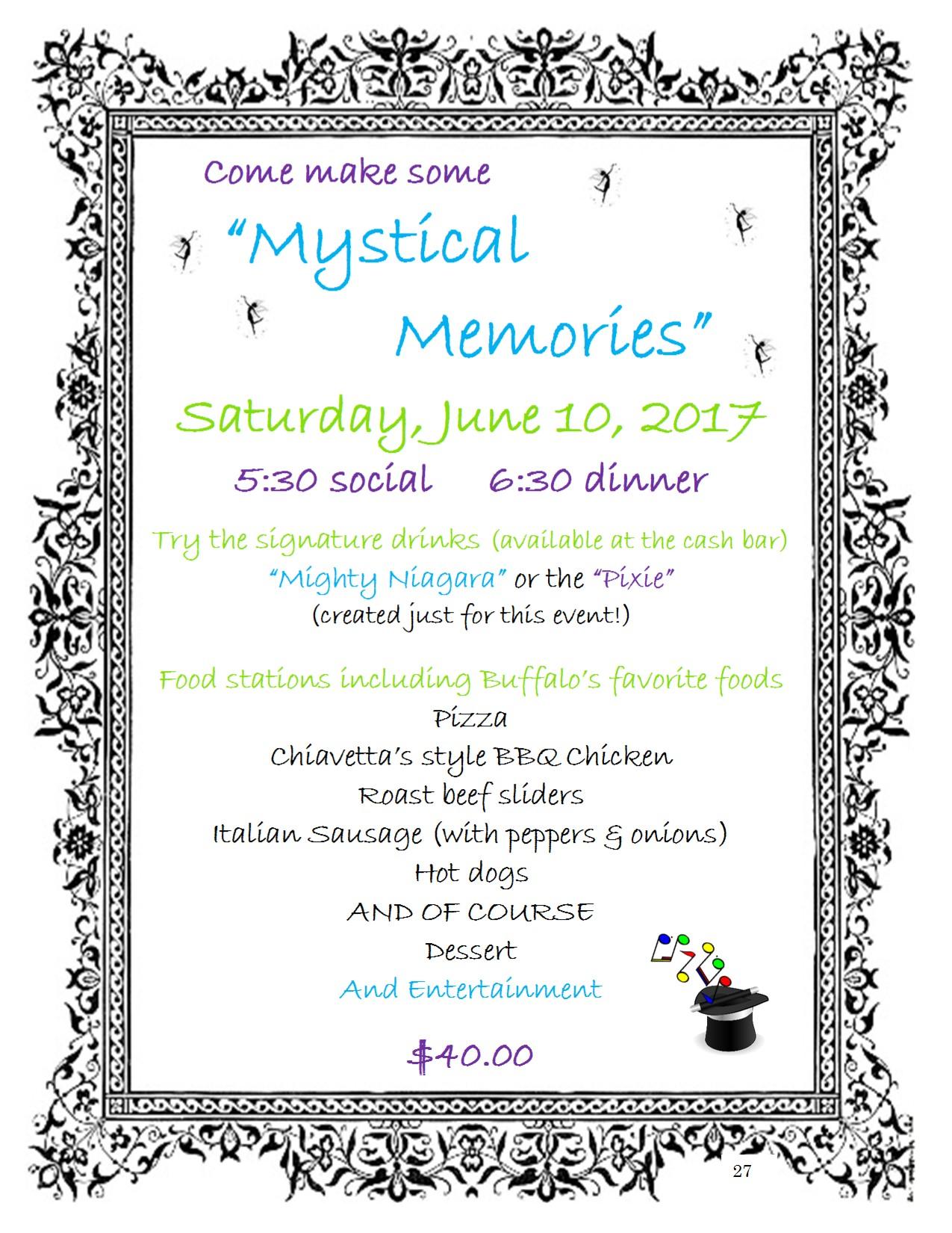 27 Mystical Memories Saturday dinner