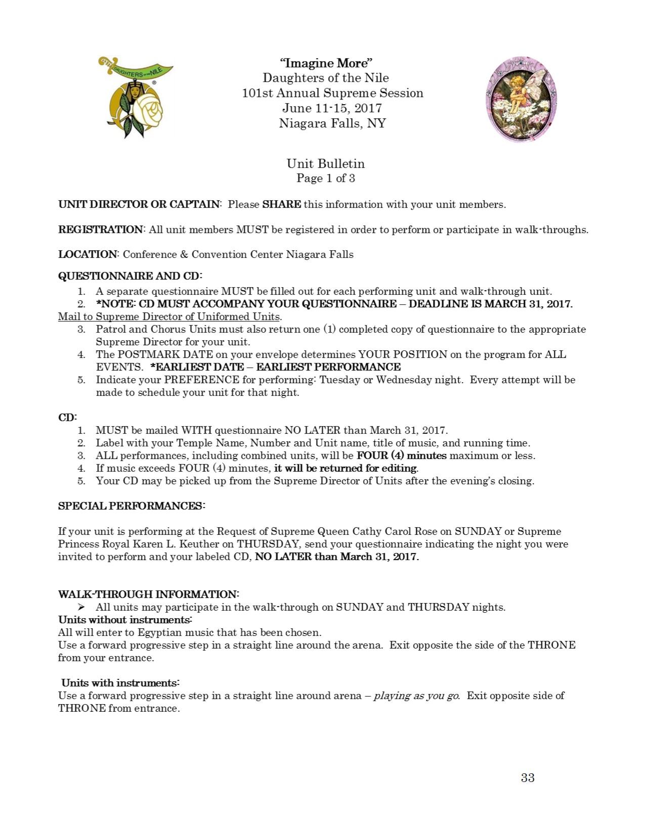 33 Unit Bulletin
