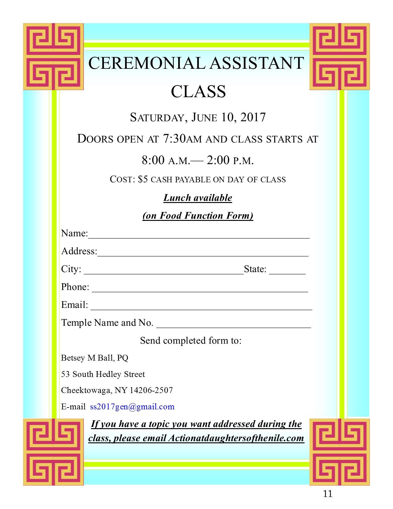 11 Ceremonial Assiatant Class flyer