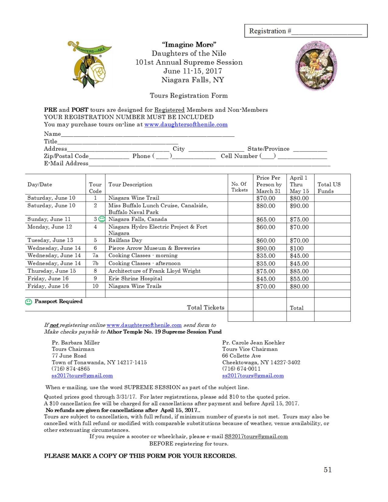 51 Tour Registration form