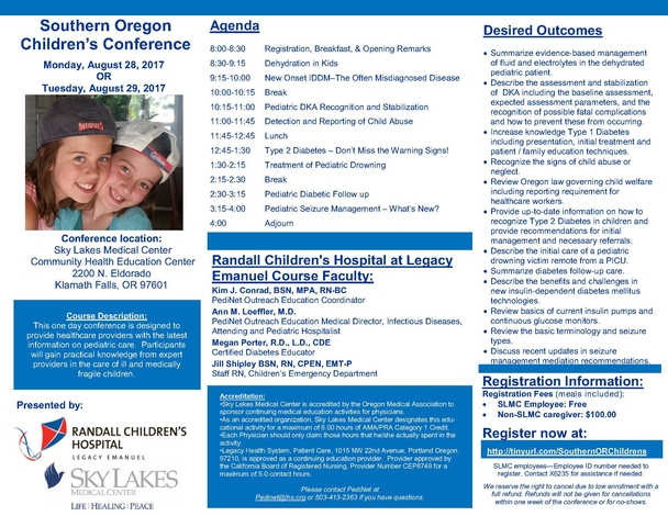 2017 Southern OR Peds Conference brochure